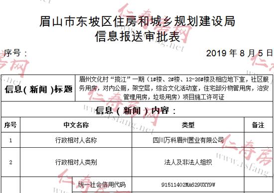 """万科眉州文化村""""揽江""""一期项目进展迅速 已拿证"""