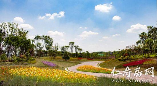 仁寿城市湿地公园实景。